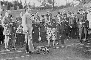 The Apawamis Club - Trophy presentation to Harold Hilton, winner of the 1911 U.S. Amateur, by Silas H. Strawn, President of the USGA