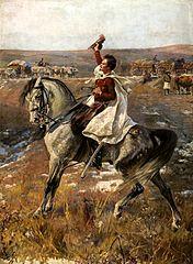 Portrait of Sándor Petőfi on horseback against the encampment.