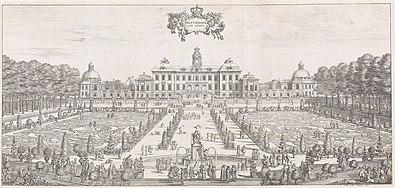 Drottningholms slot ifølge tryk i året 1692.   Afhøvlet mod vest med og barokhaven (til venstre) og afhøvlet mod øst med havneanlægget.