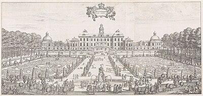 Drottningholm år 1692, ud af Suecia antiqua et kardiene.   Kobberstik af Wilhelm Swidde.   Det venstre billede:   Afhøvlet mod vest med et idealbillede af Broderiparterren.   Det højre billede:   Afhøvlet mod øst med havneanlægget.