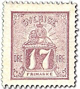 Swedish stamp 1866 17 Öre POST.054053.jpg