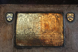 Rotherham - Memorial brass of the Swift family, All Saints Church, Rotherham, later owners of Broom Hall