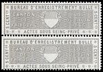 Switzerland Fribourg 1865 private acts revenue 5c - 14A Bulle pair.jpg