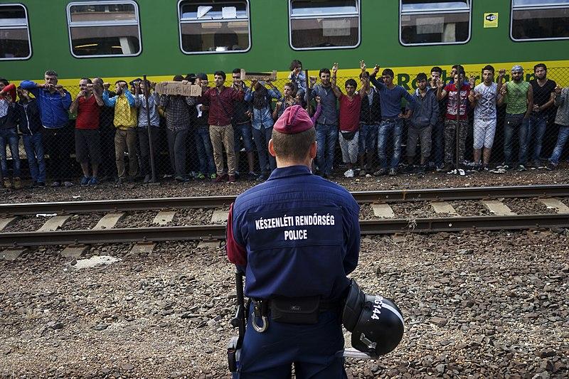 File:Syrian refugees strike at the platform of Budapest Keleti railway station. Refugee crisis. Budapest, Hungary, Central Europe, 4 September 2015. (3).jpg