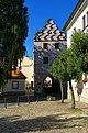 Třeboň - Trocnovské námestí - View North on Svinenská brána - Renaissance.jpg