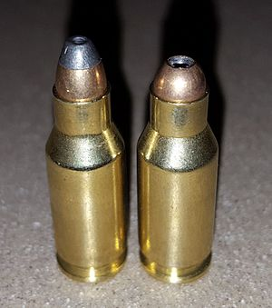.22 TCM - The .22 TCM 9R (right) uses a shorter bullet than the regular round (left).