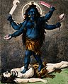 Taraka standing on a dead body. Coloured lithograph. Wellcome V0045033.jpg