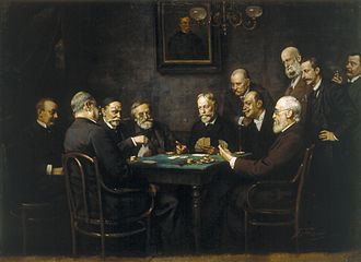Tarot card games - Hungarian statesmen playing tarokk in 1895, the preferred card game of the pre-communist era.