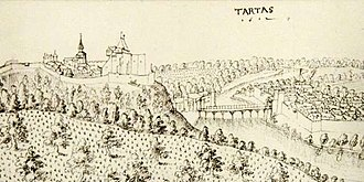 Siege of Tartas - Smaller version of the 1612 illustration of the fortified town. The fortifications and hilly landscape present a difficulty for attackers.