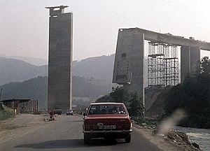 Tauern Autobahn - Collapsed bridge, June 1975