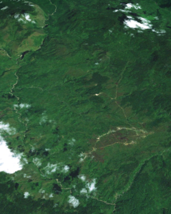 An image of Telefomin from space, the Sepik river can be seen, only a short distance from its source.