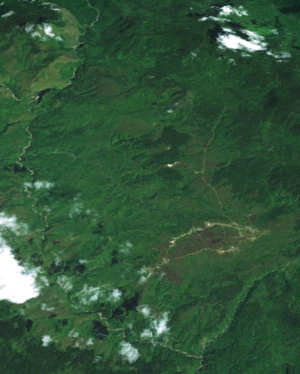 Telefomin - An image of Telefomin from space, the Sepik river can be seen, only a short distance from its source.