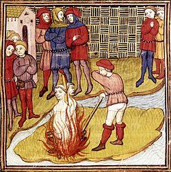 Templários sendo queimados