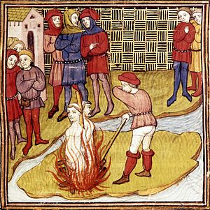 Two Templars burned at the stake, from a Frenc...