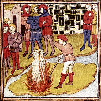 Baphomet - Two Templars burned at the stake, from a French 15th-century manuscript