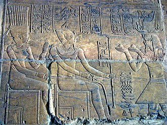 Temple of Dakka - Relief depicting the Kushite king Arkamani presenting an offering to the gods