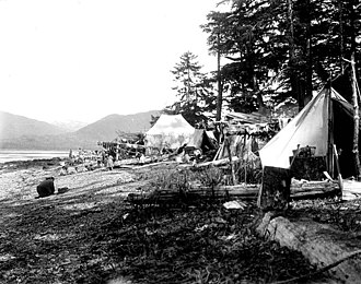 Gravina Island - Camp of King Salmon trollers at Vallenar Point, 1902