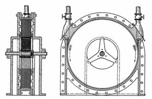 "Tesla turbine - View of Tesla turbine ""bladeless"" design"