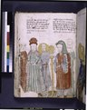 Text with placemarkers and rubric; miniature of Samson's marriage (NYPL b12455533-426417).tif