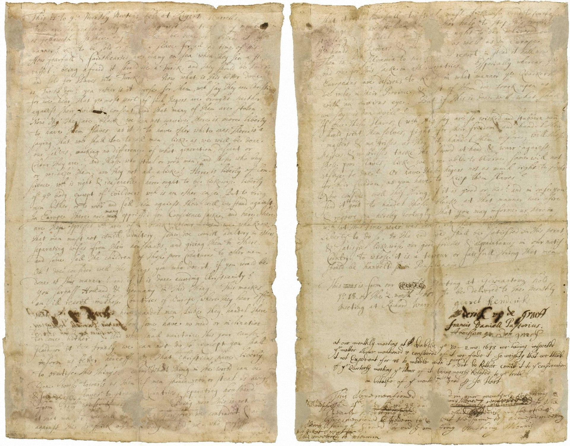 1688 Germantown petition against slavery, on parchment paper