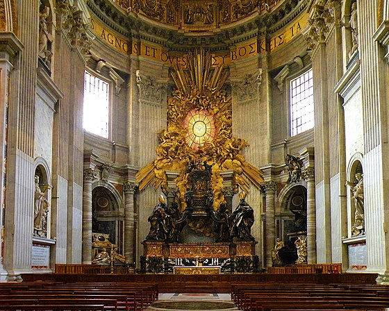 The apse with St. Peter's Cathedra supported by four Doctors of the Church The Chair of Saint Peter adjusted.JPG