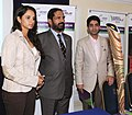 The Chairman of Organising Committee, Commonwealth Games 2010 Delhi, Shri Suresh Kalmadi, Beijing Olympic Gold Medalist, Shri Abhinav Bindra and Tennis Player, Sania Mirza at the launch of the Queen's Baton Relay, in London.jpg