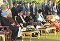 The Chief Guest of Republic Day, the Prime Minister of Japan, Mr. Shinzo Abe and his wife Mrs. Akie Abe with the President, Shri Pranab Mukherjee, the Vice President, Shri Mohd. Hamid Ansari and the Prime Minister.jpg