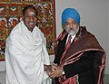 The Chief Minister of Puducherry, Shri N. Rangaswamy meeting with the Deputy Chairman, Planning Commission, Dr. Montek Singh Ahluwalia to finalize Annual Plan 2008-09 of the State, in New Delhi on February 18, 2008.jpg
