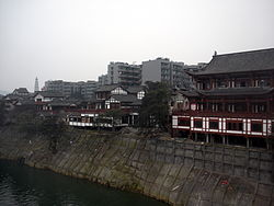 The Chinese tranditional style houses along the Fu river bank at Nanjinjie,Hechuan,Chongqing.jpg