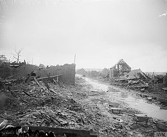"""F. L. Lucas - Miraumont-sur-Ancre (March 1917), taken in the British advance of 25 Feb. 1917. The Official History mentions """"a daring and resourceful reconnaissance on the crest south of Miraumont by Lt. F. L. Lucas, 7/Royal West Kent, on the afternoon of Feb. 22, conducted whilst British shrapnel was bursting behind him"""", which brought the first indication of the German retreat to the Hindenburg Line."""