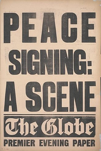 The Globe (London newspaper) - Placard for The Globe announcing the signing of the Treaty of Versailles, 28 June 1919