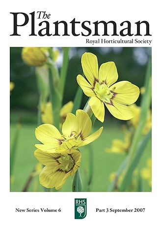 The Plantsman (magazine) - Front cover of The Plantsman from September 2007. The cover photograph is of Sisyrinchium macrocarpum taken by  Rita Heaton