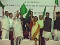 The President, Smt. Pratibha Devisingh Patil and the Union Minister for Railways, Shri Lalu Prasad Flagging off the new train from Amravati to Mumbai at Amravati, in Maharashtra on September 07, 2008.jpg