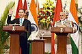 The Prime Minister, Shri Narendra Modi and the President of the Socialist Republic of Vietnam, Mr. Tran Dai Quang, during the Joint Press Statement, at Hyderabad House, in New Delhi on March 03, 2018.jpg