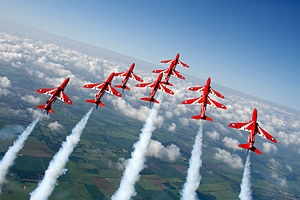 RAF Scampton - The Red Arrows display over RAF Scampton MOD 45147902