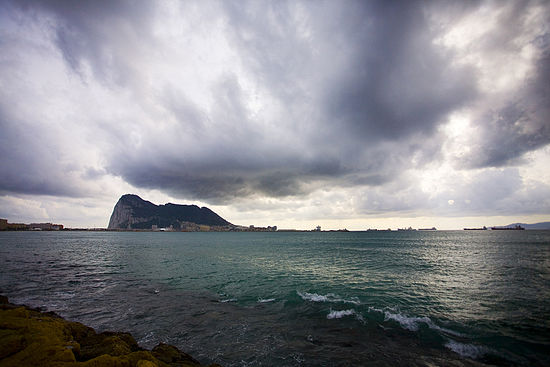 The Rock of Gibraltar in the distance.jpg