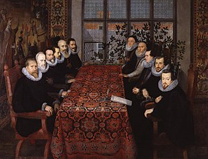 Royal Gold Cup - The Somerset House Conference representatives in August 1604; Spanish on the left, English on the right. The Constable of Castile is nearest the window on the left.