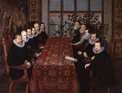 The Somerset House Conference between diplomats of England (right) and Spain (left) (painting) The Somerset House Conference, 1604 from NPG.jpg