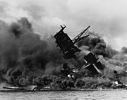 The USS Arizona (BB-39) burning after the Japanese attack on Pearl Harbor - NARA 195617 - Edit