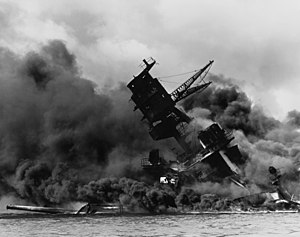 Japanese war crimes - The USS Arizona (BB-39) burning during the Japanese attack on Pearl Harbor