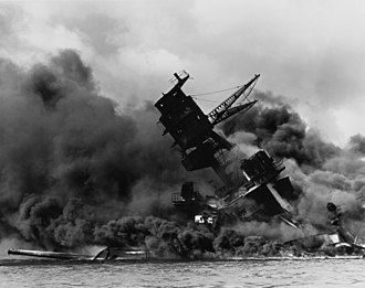 Infamy Speech - The wreckage of the USS ''Arizona'' ablaze after the attack
