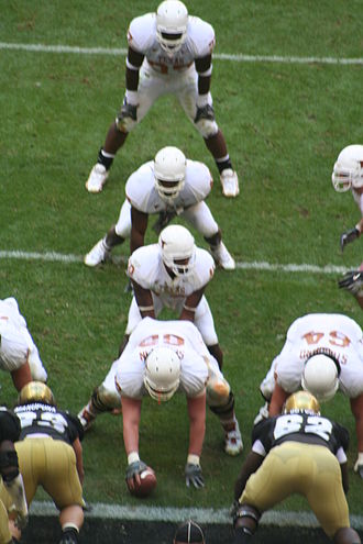 I formation - Texas Longhorns in the I formation.  From top to bottom: tailback, fullback, quarterback, center