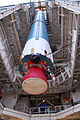The first stage of a Delta II 7320-10C is raised at SLC-2W for Aquarius SAC-D launch.jpg