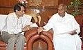 The former Prime Minister and MP, Lok Sabha, Shri H.D. Deve Gowda calling on the Union Minister for Railways, Shri Suresh Prabhakar Prabhu, in New Delhi on April 06, 2016.jpg