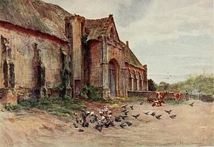 """Walter Tyndale - The Tithe Barn, Abbotsbury (scene of the sheep-shearing in Thomas Hardy's """"Far from the madding crowd"""")"""
