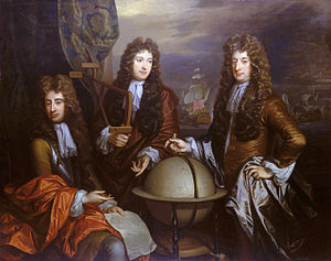 Ralph Delaval - Admiral Sir Ralph Delaval (right), together with Thomas Phillips (left) and Admiral John Benbow (center).