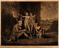 Three schoolboys giving charity to a blind beggar. Mezzotint Wellcome V0016254.jpg