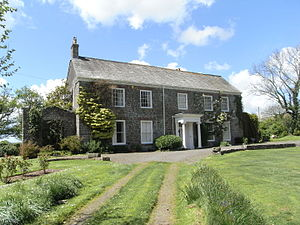 """Thuborough - Thuborough, east front, comprising """"Thuborough House"""". The attached north-east block (behind right) comprises """"Thuborough Barton"""""""