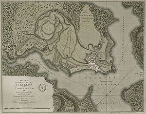 Battle of Carillon - A 1758 map depicting the battle lines