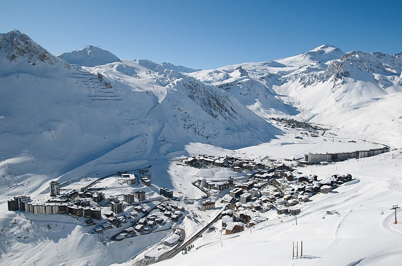 Tignes Val Claret, taken from slopes of the Grande Motte mountain